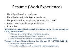 Resume Volunteer Experience Example by Resume Examples Including Volunteer Work
