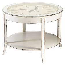 Distressed White Table Glass And Wood Round Clock Coffee Table In White With Distressed