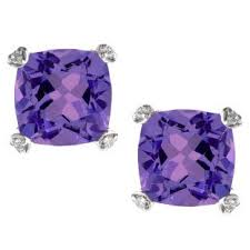 purple stud earrings cushion cut purple amethyst diamond white gold simple earrings