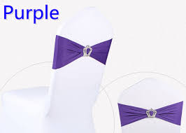 Spandex Chair Sashes Purple Colour Crown Buckles Lycra Chair Sash For Wedding Chairs