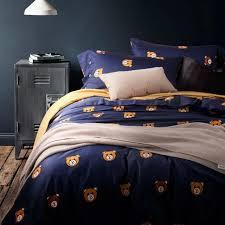 teddy bear linen bedding set cute duvet cover egyptian cotton bed