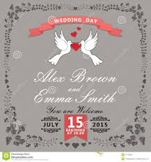 Invitation Card Cover Cute Wedding Invitation Floral Items And Cartoon Pigeons Vintage