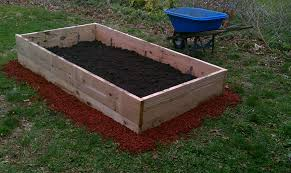 diy backyard vegetable garden raised bed wooden box with soil mix