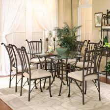 rectangular glass top dining room tables cramco inc denali 7 piece rectangular glass table with chairs