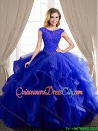 quinceanera dresses wonderful beaded and ruffled royal blue quinceanera dress with