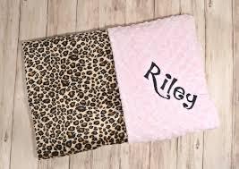 Cheetah Print Blanket Monogrammed Minky Baby Blanket Leopard Cheetah Print Minky