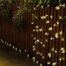 warm white blossom flower solar led string lights