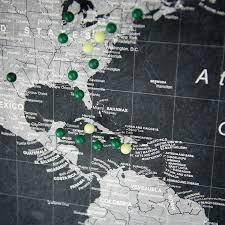 Push Pin Map Amazon Com World Travel Map Pin Board Modern Slate Handmade