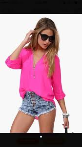 neon blouse blouse pink pink blouse neon floral shorts pretty
