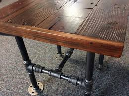 wood and pipe table square end table with reclaimed wood and black pipe