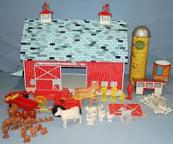 Toy Barn With Farm Animals Ohio Art Rolling Acres Farm Pressed Steel Play Set Barn Silo