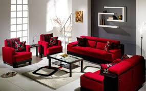 chic red velvet sofa seat and glass coffee table of grey living