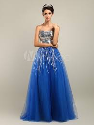 royal blue long homecoming dress with sequined bodice milanoo com