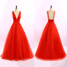 red long prom dresses plunge v neck ball gowns backless