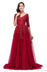Burgundy Red Lace Tulle Long Modest Evening Dresses 2017 3 4