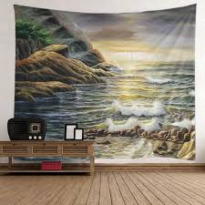 Light Colored Tapestry Beach Mountain Sunrise Wall Art Tapestry Light Brown W Inch L