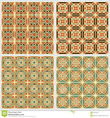 set of vintage square tiles in nostalgic colors with simple