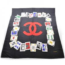 22500 Chanel Silk Iconic Symbol Cards Scarf Black 22500