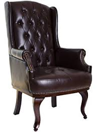 Faux Leather Armchair Uk Brown Faux Leather Queen Anne Design Wing Back Fireside High Back