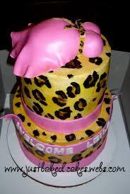 cheetah baby shower print pink baby shower cake