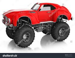 off road sports car monster truck sports car red body stock illustration 600980957
