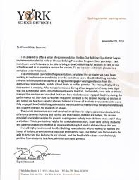 Reference Letter York york school district 1 vernon prosser ed d superintendent