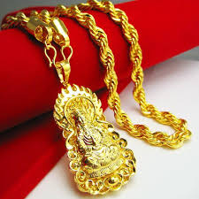 man necklace gold jewelry images Wholesale gold necklace men do not fade guanyin pendant brand jpg