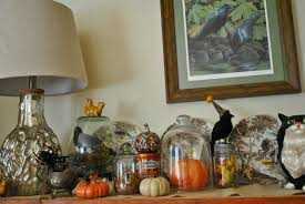 decorations halloween mantel decor featuring pottery pumpkin