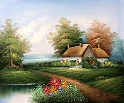 country cottage paintings painted on canvas