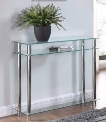 Glass Console Table Glass Console Table Clear Or Black Glass Chrome Legs 2 Tier Modern