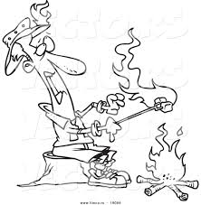 vector of a cartoon man roasting marshmallows and catching his hat