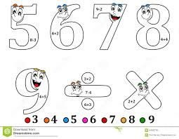 smiling numbers for coloring as counting for kids coloring book