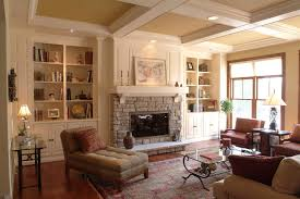 graceful built in bookcases fireplace decor ideas in living room