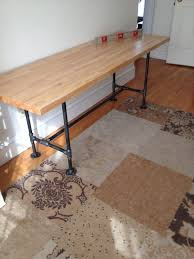 6 foot diy pipe table with butcher block pipe from home depot