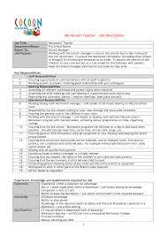 Resume For Montessori Teacher Cover Letter Sample Resume For Preschool Teacher A Sample Resume