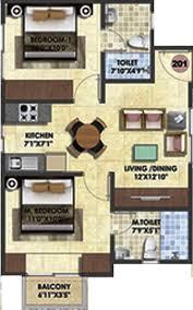 Serenity Floor Plan 815 Sq Ft 2 Bhk Floor Plan Image Adventz Infraworld Brindavan