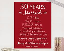 30 year anniversary ideas personalized 30th anniversary gift for parents custom 30th