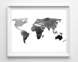 World Map Silhouette Watercolor World Map Print Printable Black White Wall Art