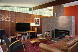 living room mid century modern wood paneling living room