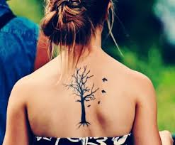flying birds and ash tree on back