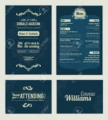 Thank You Note After Dinner Party - vector elegant blue dinner coctails party invitation set invite