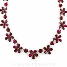 red flower necklace images Georgian garnet flower necklace c 1850 in 9ct gold jpg
