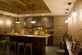 basement bar ideas with brick basement decoration