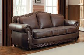 Curved Sofa Leather by Furniture Brown Leather Sofa With Curved Arm And Back Using Nails