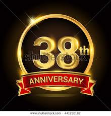 38th wedding anniversary 38th golden anniversary logo ring stock vector 444763525
