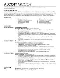 Profile Sample Resume by Marketing Resume Examples Marketing Sample Resumes Livecareer