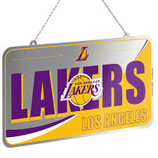 los angeles lakers team metal license plate ornament nba store