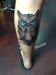 tattoos for leg owl design on leg