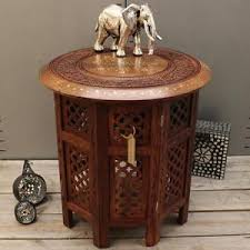 Small Side Table Small Side Table Wooden Round Coffee Lamp End Brown Hand Carved