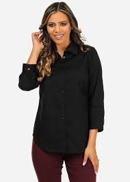 black button up blouse s solid black sleeve button up office wear shirt